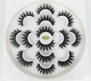 Yeni 7 Pairs 3D Kirpikler El Yapımı Doğal Uzun Sahte Vizon Lashes Kadınlar Makyaj Yanlış Lashes Uzantıları Maquiagem Araçları Damla Nakliye