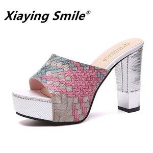 Xiaying улыбка лето новые сандалии водонепроницаемый платформа мода рыбий рот толстые босоножки на высоком каблуке