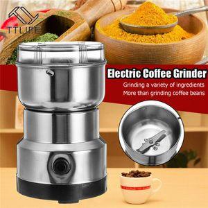 toptan Kahve Öğütücü Elektrikli Mini Coffee Bean Nut Öğütücü Kahve çekirdekleri Fonksiyonlu Ev Kahve Makinesi Mutfak Alet AB Tak