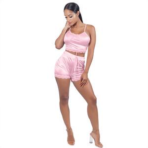 Donne di estate 2pcs vestiti sexy canotta U-collo Pantaloncini vestiti del merletto Imposta Designer solidi tute di colore