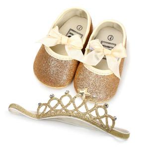 New Gold Bow Sequin 신생아 소녀 신발 신생아 신발 + 크라운 머리띠 2pcs / 유아 신발 세트 Baby First Walker Shoes 아기 신발류 A1849