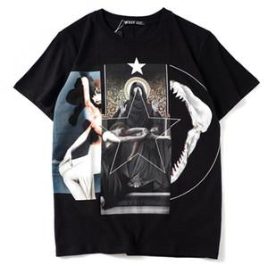 Astarlet Camiseta Hombre Verano Negro Patchwork Virgen María Camisetas G 18SS Tops Hombres Camisetas