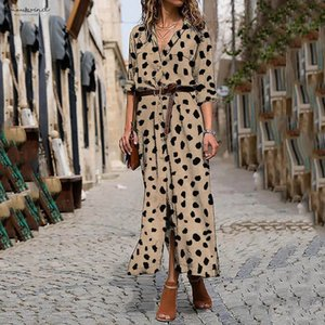 Vintage Women Autumn Long Dress Bohemian Women Long Sleeve Flower Print V Neck High Waist Dress Beachwear Vestidos De Verano