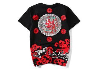 أسلوب المتناثرة اليابانية المد والجزر العلامة التجارية Ukiyo الإلكتروني الشياطين موجة القطن فضفاضة ساحات كبيرة الصيف الجديدة للرجال قصيرة الأكمام تي شيرت