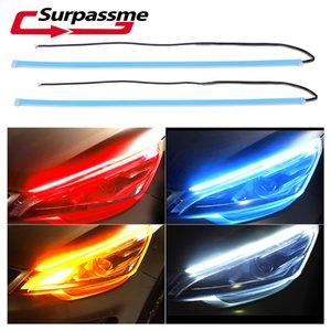 2pieces LED Car Correndo Luzes LED Light Strip impermeável sinal de volta Guia Faixa de luz Farol de montagem de automóveis