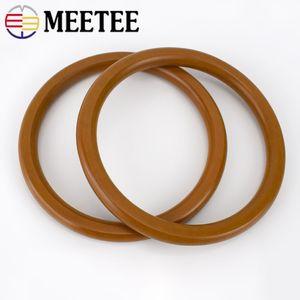 Meetee 14cm Runde Massivholz-Griff Tasche Purse Frame Hanger Ring aus Holz Kreis Handbuch DIY Handtasche Gepäck Zubehör AP225
