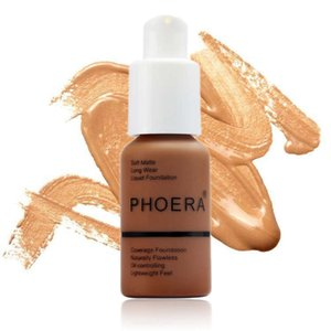 Nave de la gota PHOERA Nuevo 30ml Mate Control de aceite Corrector Base líquida Paleta de sombras Paleta de maquillaje Cuidado de la piel 10 colores diferentes