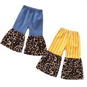 Baby-Jeans-Leopard-Patchwork Schlaghose Kleinkind Hose mit weitem Bein Schlaghosen Blau Denim Kind Hose Designer-Baby-Kleidung D6328