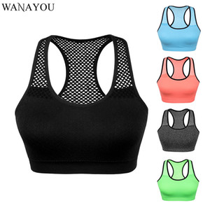 WANAYOU Nefes Yoga Gym En Hızlı Kuru Kadınlar Spor Bra Top, Dikişsiz Running Egzersiz Crop Top, Hollow Out Yoga Gömlek kolsuz bluz
