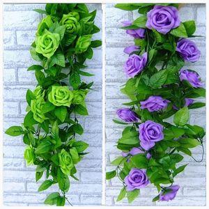 Kunstseide-Rosen-Fälschungs-T-Shirt grünes Blatt Efeurebe Für Privatanwender Hochzeit Decora Großhandel diy Hanging Garland Künstliche Blumen