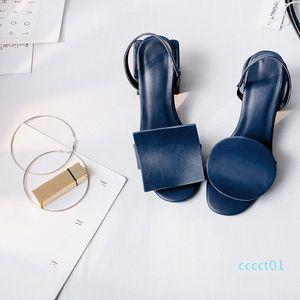 Hot Sale-Avy Blu sandali delle signore Unico Designer tacco basso Vera pelle Estate T Mostra Gladiators femminili open toe