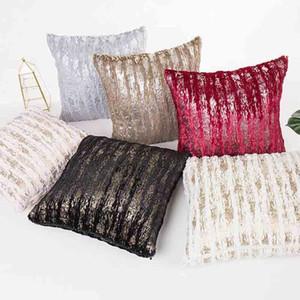 Nouvelle peluche taie d'oreiller douce laine or argent fourrure housse de coussin taille carrée Throw taie d'oreiller cadeaux cadeaux fausse fourrure MJ0016 taie d'oreiller