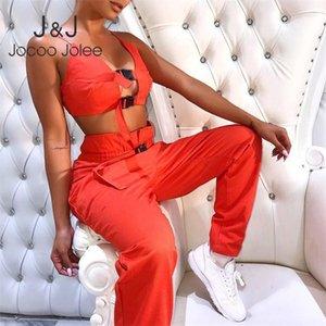 Jocoo Jolee mujeres atractivas de cultivos correa superior Botón Dos Piezas Conjuntos Pantalones ocasionales femeninos sólidos bolsillos inferiores Tanksuits 2019 Nuevos