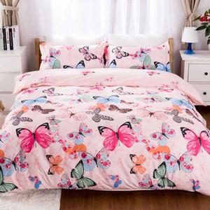 rosa borboleta conjuntos de cama lençóis bonitos cama para luxo meninas Duvet Cover Quilt cobrir dom Pillowcase dos desenhos animados para crianças Queen Size