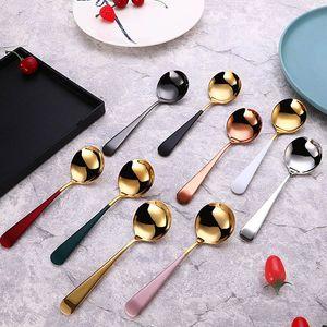 Luxe Créativité en acier inoxydable rond petite cuillère cuillère Hôtel ménages Épaississement Restaurant Bar Spoon Livraison gratuite