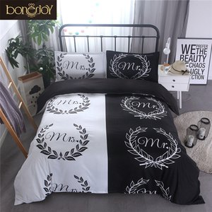 Bonenjoy Sr. e Sra amante Casais cama Set Black and Simple White Estilo Europa Queen Size Duvet Cover King Size