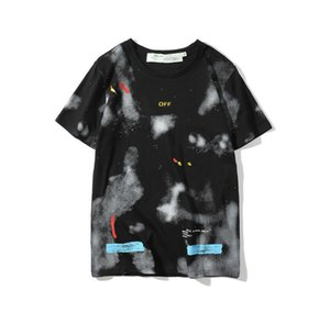 Tide brand Melbourne limited edition short-sleeved starry sky splash ink rendering men and women casual OW short-sleeved T-shirt