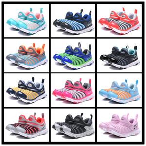 Com a caixa de desconto Crianças Lagartas verdes Sapatos Boys Blue Sneakers meninas sapatos amarelo andar Crianças formadores Vermelho Jovem ciano Tamanho UE 22-35