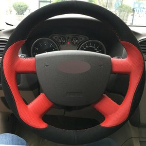 Custom Made Anti Slip DIY Car Steering Wheel Cover Black Suede Red Leather for Ford Focus 2 2005-11