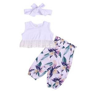 tissu été filles Ensemble bébé cultures dentelle filles de vêtements pour enfants veste + pantalon imprimé + ceinture cheveux 3 jeux