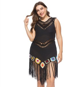IASKY 2019 tığ plaj Kadınlar için artı boyutu Tunikler Mayo Kapak up Mayo Kapak ups püskül Beachwear Pareo Plaj Elbise