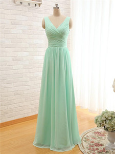 2020 New Mint Green Long Chiffon Bridesmaid Dress V Neck Cheap A Line Pleated Bridesmaid Dresses Under 100