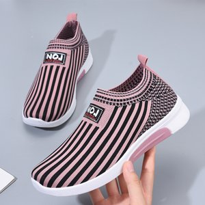 2019 new casual fashion women's running Sneakers wild striped lazy shoes Platform Skate Shoes Female Breathable Shoe G01