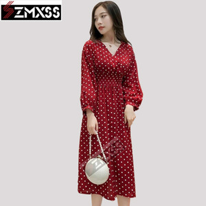 SZMXSS 2020 New Fall Long Sleeve Dress Dot Temperament Dress Female Loose Vintage Casual A-Line Lantern Sleeve Dresses