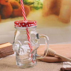 Schädel Stroh-Glas-Becher mit Deckel Griff 400ml Großer Mason Juice Drink Cup Kreative SKull geformter Becher Kaltes Trinkflaschen DH1189-1 T03
