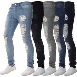 Los pantalones vaqueros rasgados motorista primavera del nuevo del diseñador adelgazan los pantalones de Jean 19SS Pantalones para hombre otoño