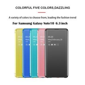 إلى Samsung Phone Case Cover Smart View Mirror جراب فليب Stand كفر جراب لسامسونج جلاكسي نوت 10 6.3 inch FW3