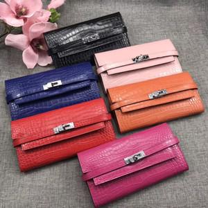 Top Quality Jacaré Longo Carteiras Total de Couro Mulheres Cartão Bolsas Bolsas Moda Cowskin Genuine Leather Vem com Box H361