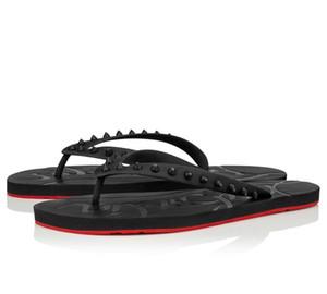 Nuevo los hombres del verano de la playa de deslizamiento en portaobjetos inferior rojo Loubi tirón de las sandalias planas de los deslizadores de las sandalias de los pernos prisioneros Pisos tirón de lujo de los fracasos de Sandalias