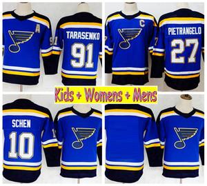 2019 청소년 세인트 루이스 블루스 하키 유니폼 91 블라디미르 타라 센코 27 알렉스 Pietrangelo 10 Brayden Schenn 홈 Blue Kids Womens Mens Shirts