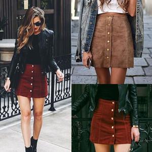Mode-elegante Frauen-Dame-Sommer-Röcke mit hoher Taille Einreiher Solide Schlanke A-Line Veloursleder Minirock 2 Style
