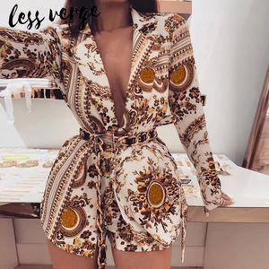 lessverge floral do ouro impressão ajustadas mulheres 2 peças blazer short manga longa sexy v pescoço casaco de Inverno conjunto de duas peças roupas