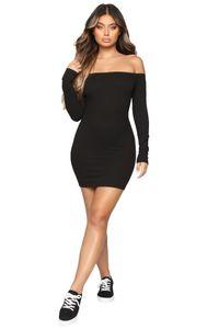Designer Solid Womens Bodycon Dress Slash Neck Long Sleeve Summer Dress Sexy Womens Night Club Dresses