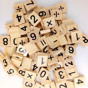 100 PCS legno Scrabble piastrelle nere lettere numeri per il regalo dei bambini L'artigianato in legno di alfabeto del giocattolo trasporto libero