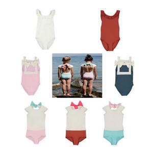 2020 Trajes nuevas chicas dulces natación para bebés Hawaii ropa de los niños de la pajarita de baño Niños Trajes de baño lindo de la muchacha del traje de baño SJ007