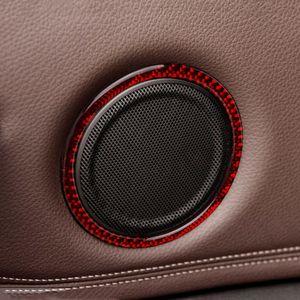 탄소 섬유 자동차 문 스테레오 스피커 장식 커버 트림에 대한 BMW의 X1의 F48 2016-2019 실내 오디오 스피커의 원형 스티커