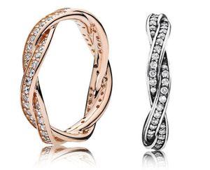 925 Sterling Silver Twist of Fate Empilable Bague Ensemble Original Boîte Pour Pan Femmes Mariage CZ Diamant 18K Rose Gold Rings W188