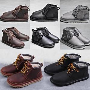2020 бант РГД мужскиеугги Классических высоких полусапожек лук мужчин девушка сапоги ботинок снежок черных синие лодыжки кожаных ботинки # 0127077 #