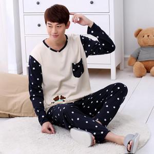 Automne Hiver À Manches Longues Mince Coton Imprimer Pyjamas Hommes Salon Pyjama Ensembles Plus La Taille 3XL de nuit Hommes Pyjamas casual homewear