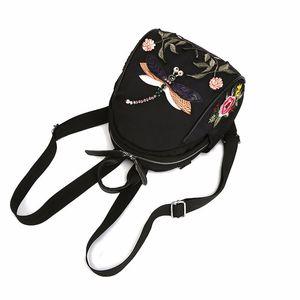 2020 bordado étnico bordado tela Oxford libélula nylon lona de la manera ocasional versátil mochila mochilas mochilas