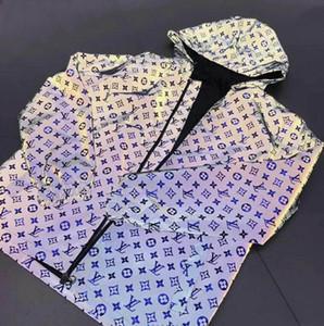 Paris Europa nuevo patrón chaquetas para hombre de alta calidad de diseño de hombres y mujeres clásicas delgada cazadora con capucha de lujo reflectante fluorescente del viento