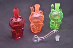 Mini Vermelho Verde Amarelo plataforma de petróleo de vidro gato bong protable desenhos animados tubos de queimador de óleo de vidro de água com a bacia de petróleo 10 milímetros de vidro para fumar