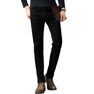 2019 Hommes Jeans Slim Noir Ripped Striaght Elasticité Painted doux Biker Jeans High Street Distressed Cowboys Pantalons