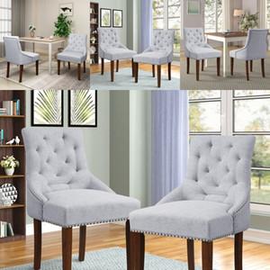 US Dining Chair bracciolo Nailhead Trim biancheria Tappezzeria Set di 2 grigio sedie Soggiorno Mobili