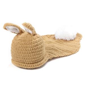 Sevimli Bebek Paskalya Tavşanı Kıyafeti, El Yapımı Örgü Tığ Erkek Bebek Kız Hayvan Bunny Beanie ve Pelerin Set, Bebek Yenidoğan Cadılar Bayramı Fotoğraf Prop