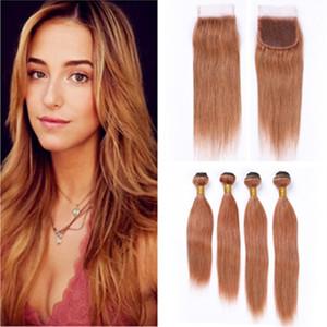 Перуанский Средний Auburn Human Пучки волос с закрытием # 30 Auburn Brown Straight Virgin Hair Lace Closure с переплетений 4 Bundle предложения